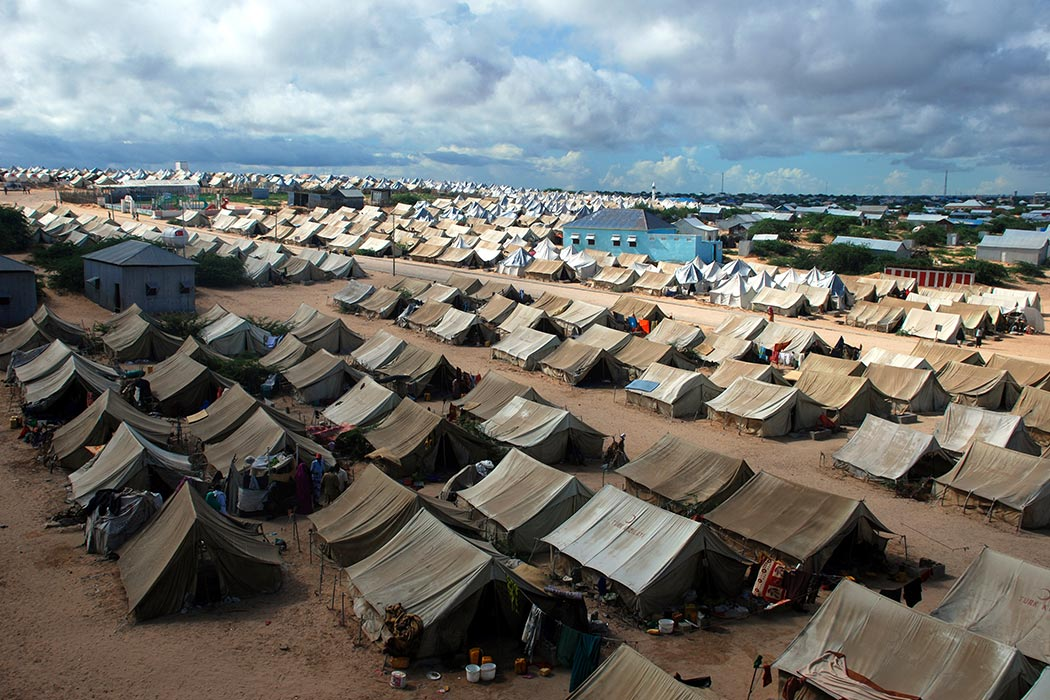Mogadishu,Somalia-April, 30, 2013 :A general view of the tent camp where thousands of Somali immigrants on April 30, 2013, in Mogadishu,Somalia.