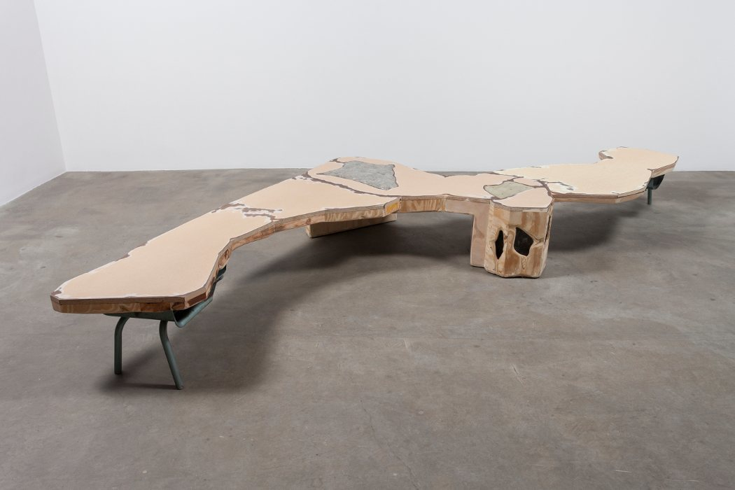 """A Modest Enquiry into the Nature of Witchcraft"" (2016), 48"" x 104"" x 14"" Functional bench made from salvaged material from closed Chicago public schools; image courtesy of the artist and Rhona Hoffman Gallery."