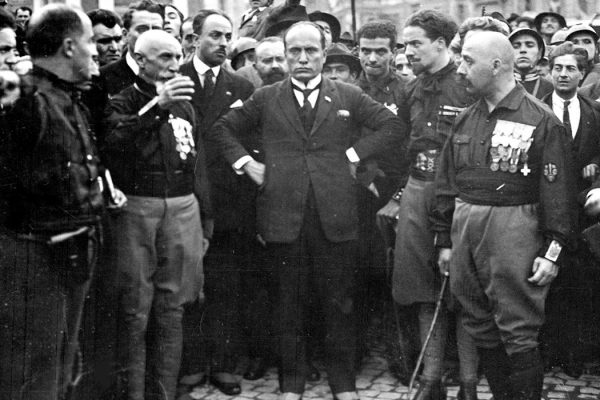 Mussolini and the Quadrumviri during the March on Rome in 1922: from left to right: Michele Bianchi, Emilio De Bono, Italo Balbo and Cesare Maria De Vecchi