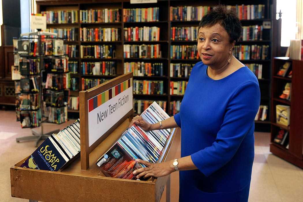 In this April 16, 2015, photo, Carla Hayden, CEO of the Pratt Library, gives a tour of the library's central branch in Baltimore. President Barack Obama on Wednesday, Feb. 24, 2016, has nominated Hayden, the longtime head of Baltimore's library system, as the next Librarian of Congress. (Barbara Haddock Taylor/The Baltimore Sun via AP) WASHINGTON EXAMINER OUT