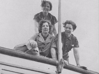 "Clockwise from top: Ruhe Linn, Margaret ""Gibby"" Gibbons, Dorothy A. Bennett aboard the Barnacle, 1930s"