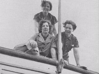 "Clockwise from top: Ruhe Linn, Margaret ""Gibby"" Gibbons, Dorothy A. Bennett aboard the Barnacle, 1930s"