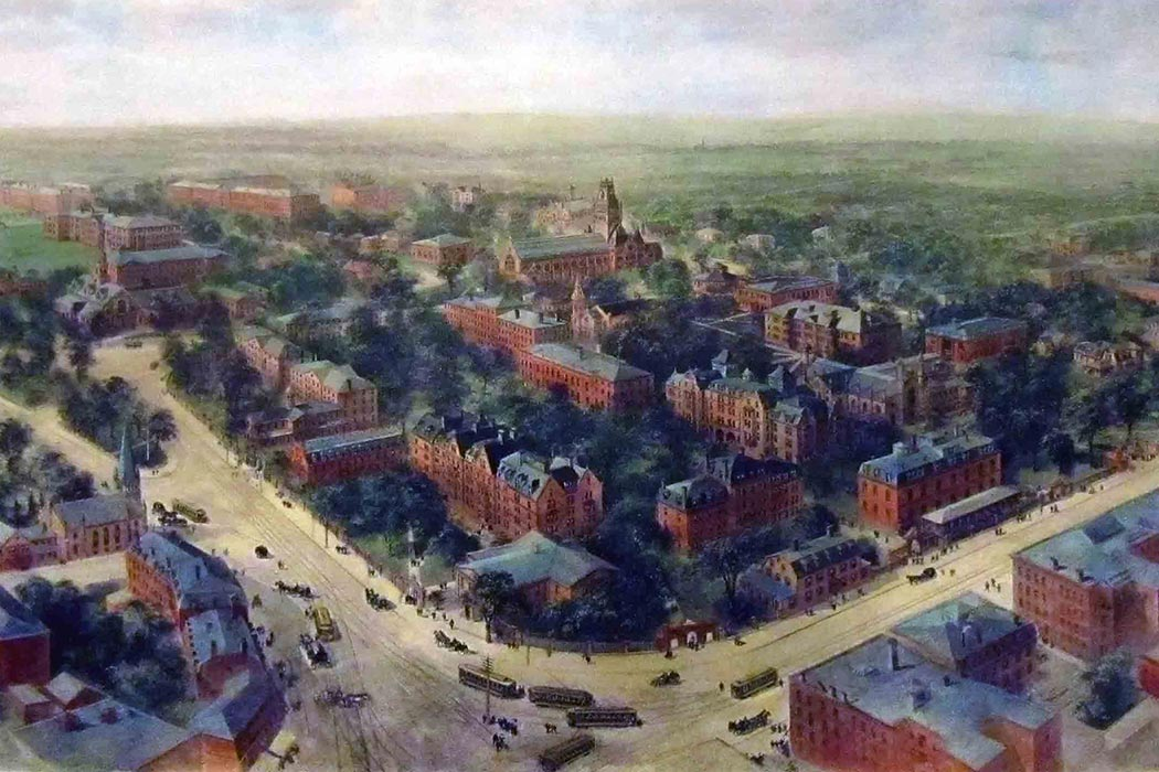 Richard Rummell's iconic landscape watercolor view of Harvard University, 1906.