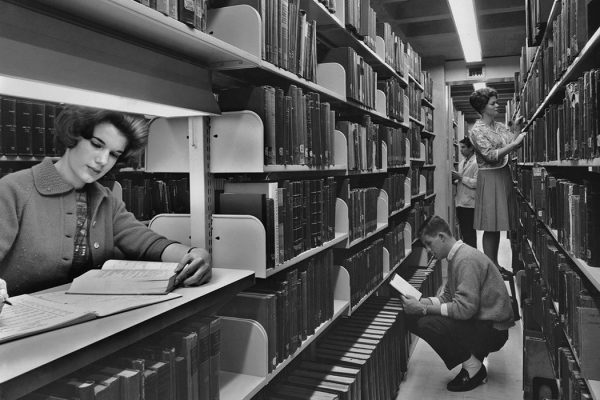 University of Pennsylvania students locate books on the stacks at the new Charles Patterson Van Pelt Library in 1962. (Photo by Authenticated News/Archive Photos)