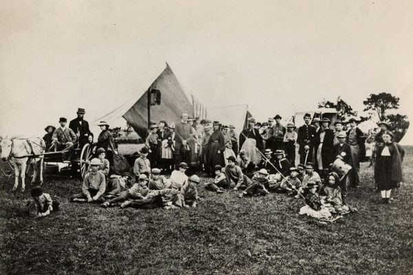 Picture of Gunnery Camp, the first organized American summer camp, 1861