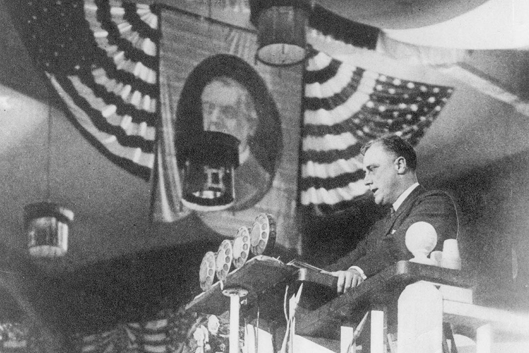 FDR delivers the nominating speech for Alfred E. Smith at the Democratic Convention at Madison Square Garden, New York, NY. June 26, 1924. This speech is often considered FDR's first major gesture of re-entry into national politics after recovering from the onset of polio.