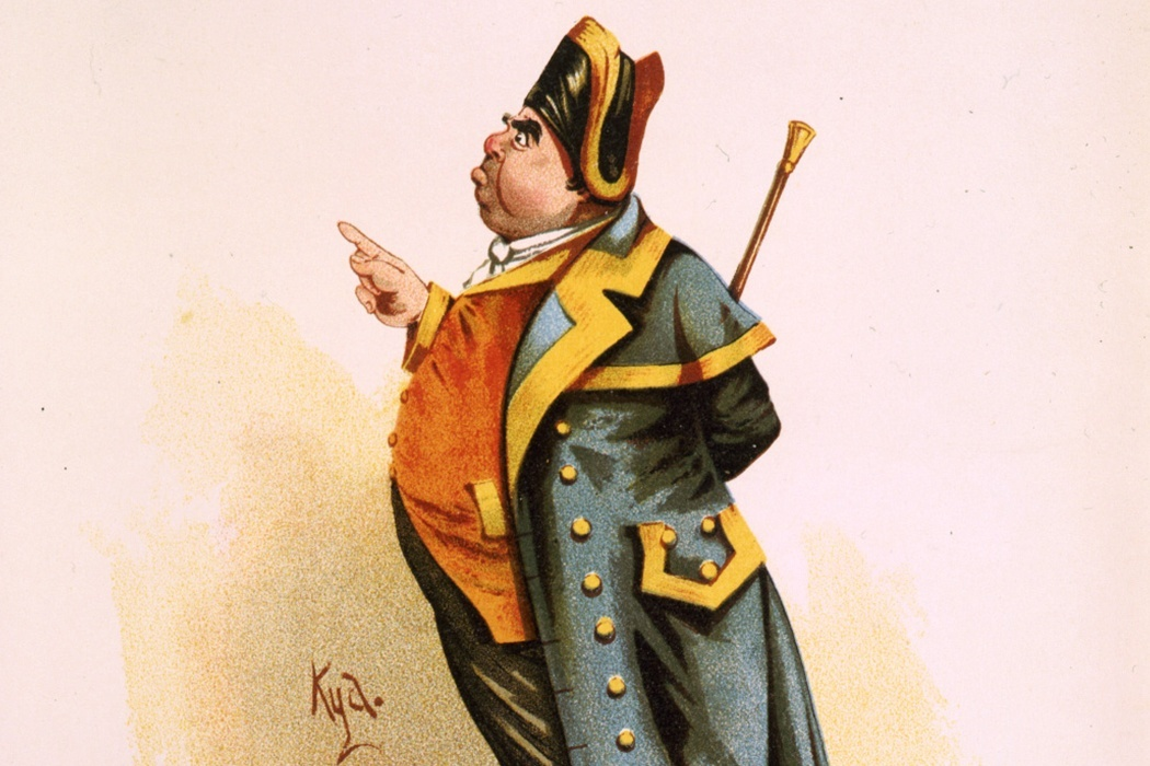 "Mr. Bumble, full-length, standing, facing left, pointing with right hand. Illus. in: The Characters of Charles Dickens pourtrayed (sic) in a series of original water colour sketches by ""Kyd"", color lithograph, Raphael Tuck & Sons, London, ca. 1899."