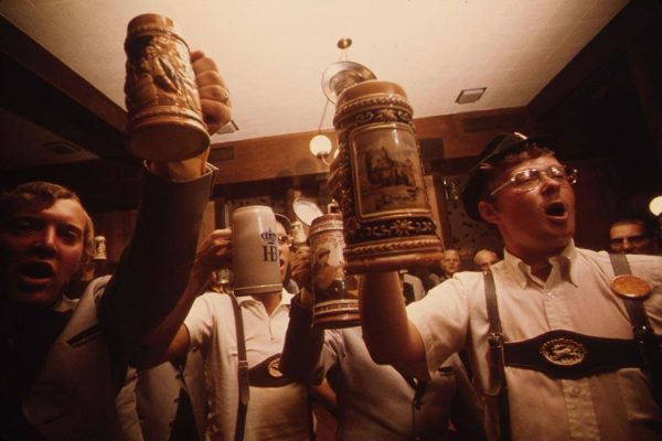 Beer Steins Are Raised as the Concord Singers Practice Singing German Songs in New Ulm, Minnesota.