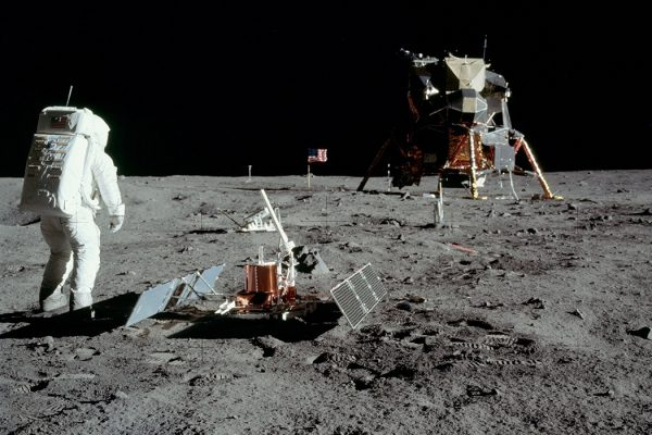 Buzz Aldrin with equipment on the moon
