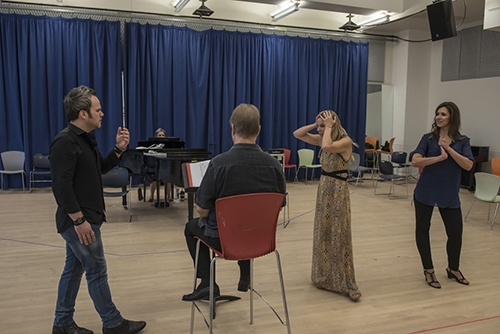 Rehearsals for Aureliano in Palmira by Gioachino Rossini with Will Crutchfield, conductor, Andrew Owens, tenor, Georgia Jarman, soprano, and Tamara Mumford, mezzo-soprano, in New York City on July 7, 2016. (photo by Gabe Palacio)