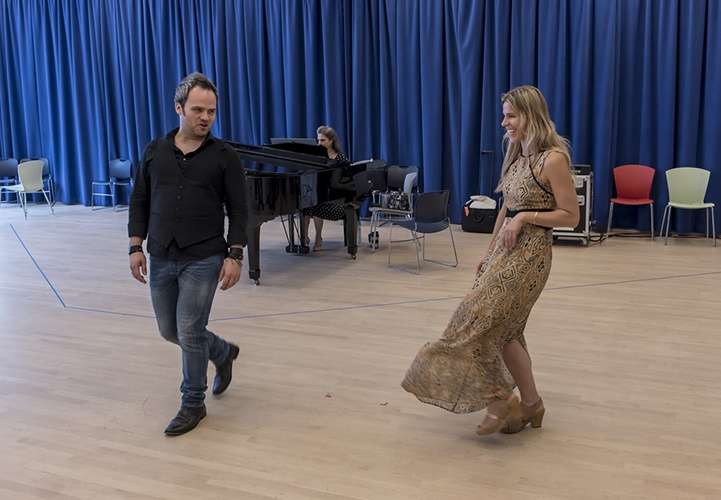 Rehearsals for Aureliano in Palmira by Gioachino Rossini with Andrew Owens, tenor, and Georgia Jarman, soprano, in New York City on July 7, 2016. (photo by Gabe Palacio)