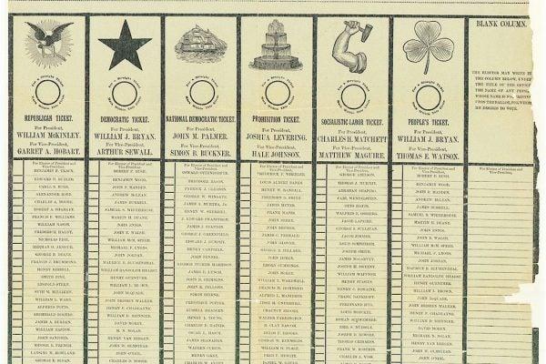 1896 Presidential Ballot