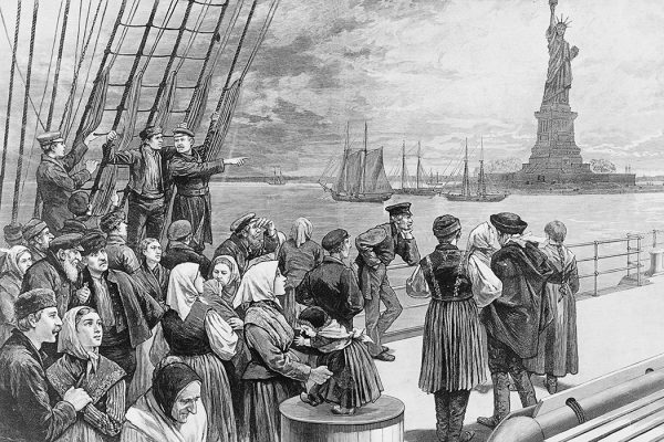 Immigrants Arriving in New York City, 1887 Engraving