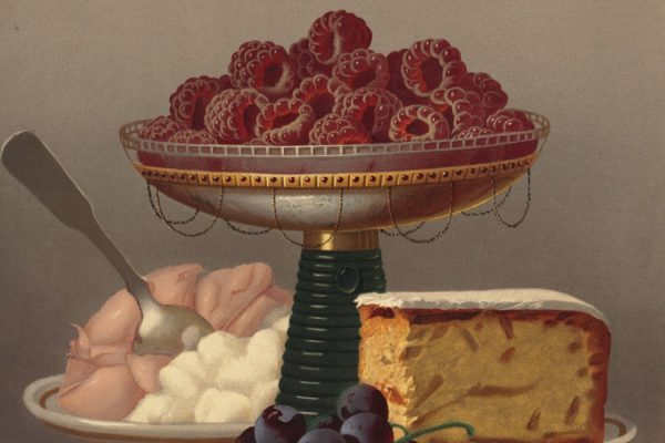 Painting: Dessert No. 4 by  Carducius Plantagene Ream, depicting cake, raspberries, and ice cream  Source: https://commons.wikimedia.org/wiki/File:Dessert_No._4_by_Boston_Public_Library.jpg
