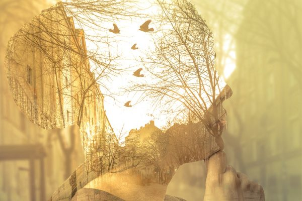 Double exposure image of woman, imagination concept