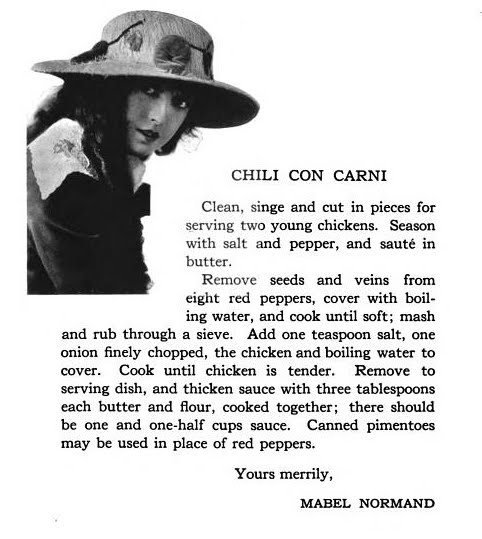 Mabel Normand's recipe for Chili con Carne