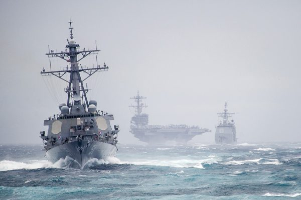 Destroyers and aircraft carrier