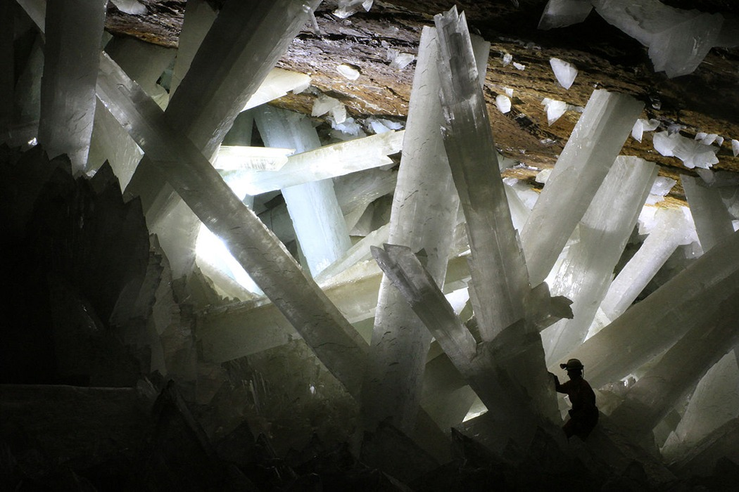 Gypsum crystals of the Naica cave.