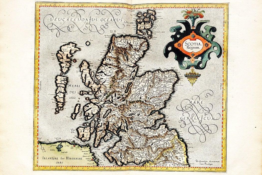 1596 Mercator map of Scotland