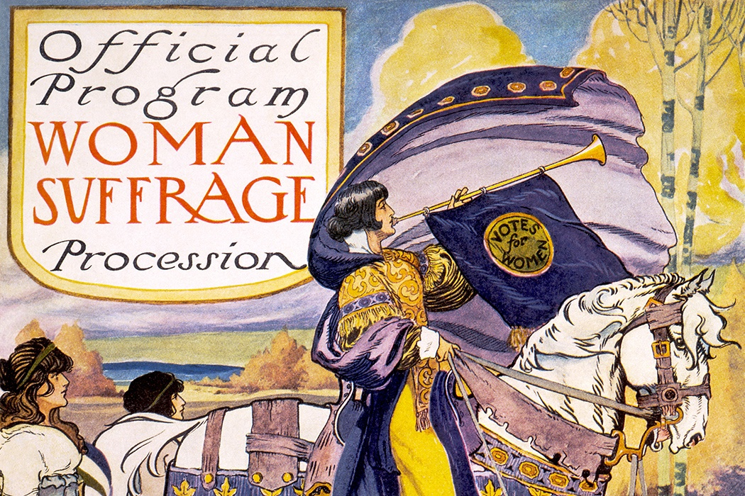 "Official program - Woman suffrage procession, Washington, D.C. March 3, 1913. Cover of program for the National American Women's Suffrage Association procession, showing woman, in elaborate attire, with cape, blowing long horn, from which is draped a ""votes for women"" banner, on decorated horse, with U.S. Capitol in background."