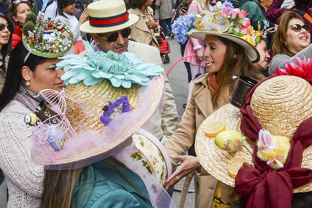 Photograph: revelers in stylish Easter hats at the New York City Easter Parade and Bonnet Festival, 2015  Source: https://flic.kr/p/r2tGNN