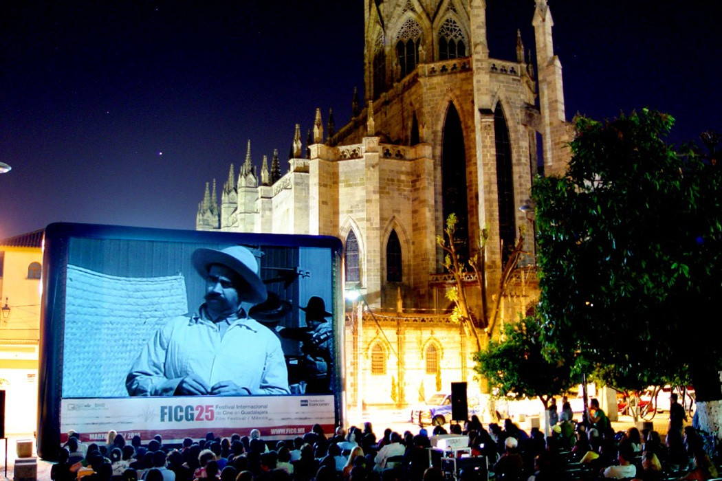 An outdoor film festival in Guadalajara, Mexico
