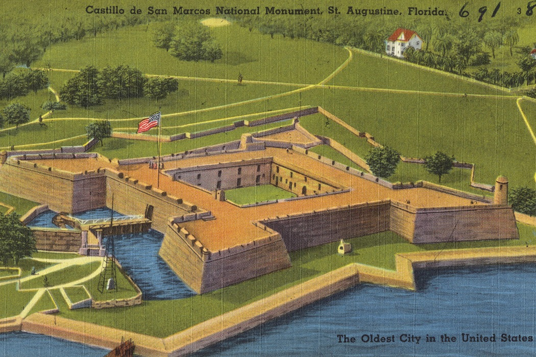 A postcard featuring the Castillo de San Marcos