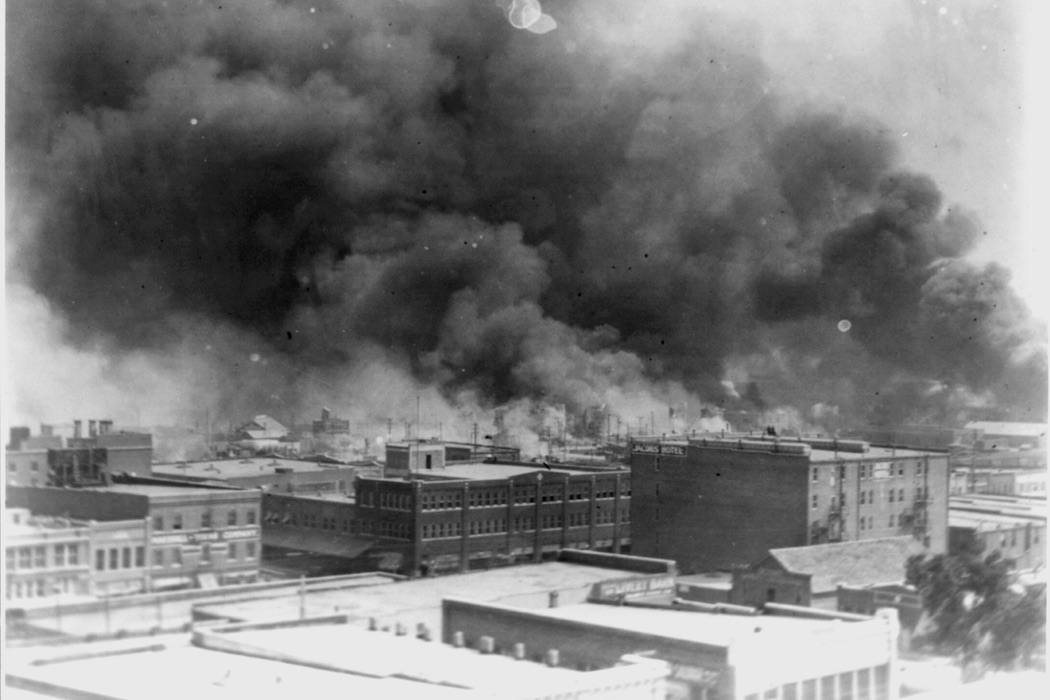 Smoke billowing over Tulsa, Oklahoma during 1921 race riots