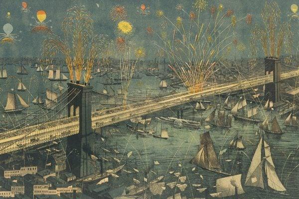 Fireworks Brooklyn Bridge