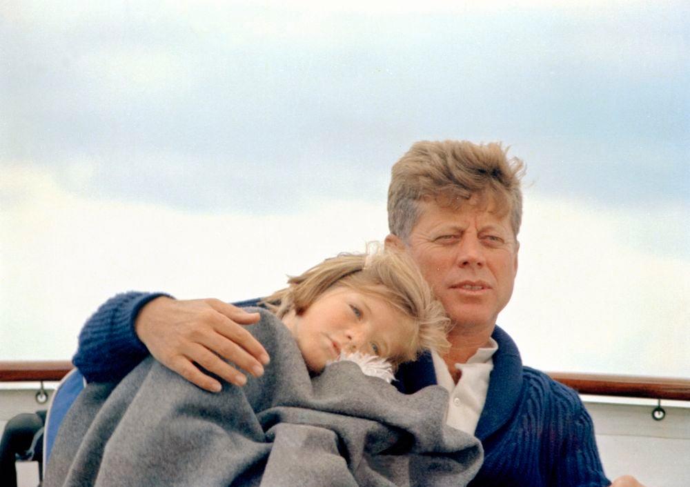 JFK with Caroline on the Honey Fitz (presidential yacht), 1963