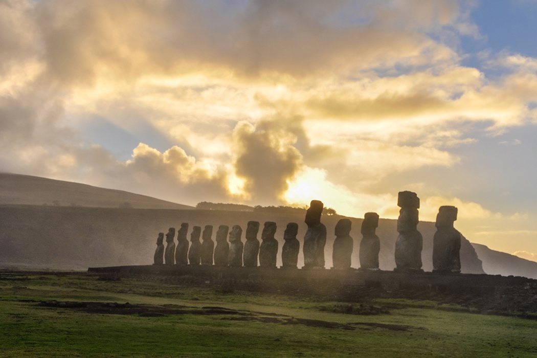 Sunrise at Ahu Tongariki in Easter Island, Chile