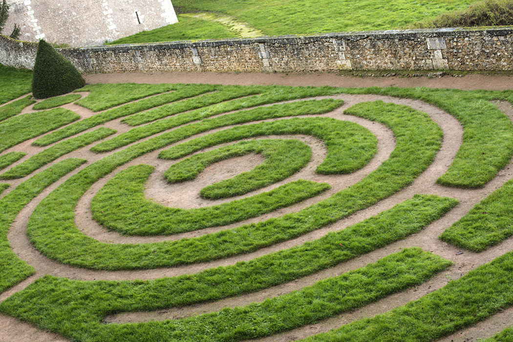 Chartres, France. Known for its famous Chartres Cathedral and it's Labyrinth which were built in the 13th century.This is the Labyrinth outside in the Bishop's Garden, just behind the church.