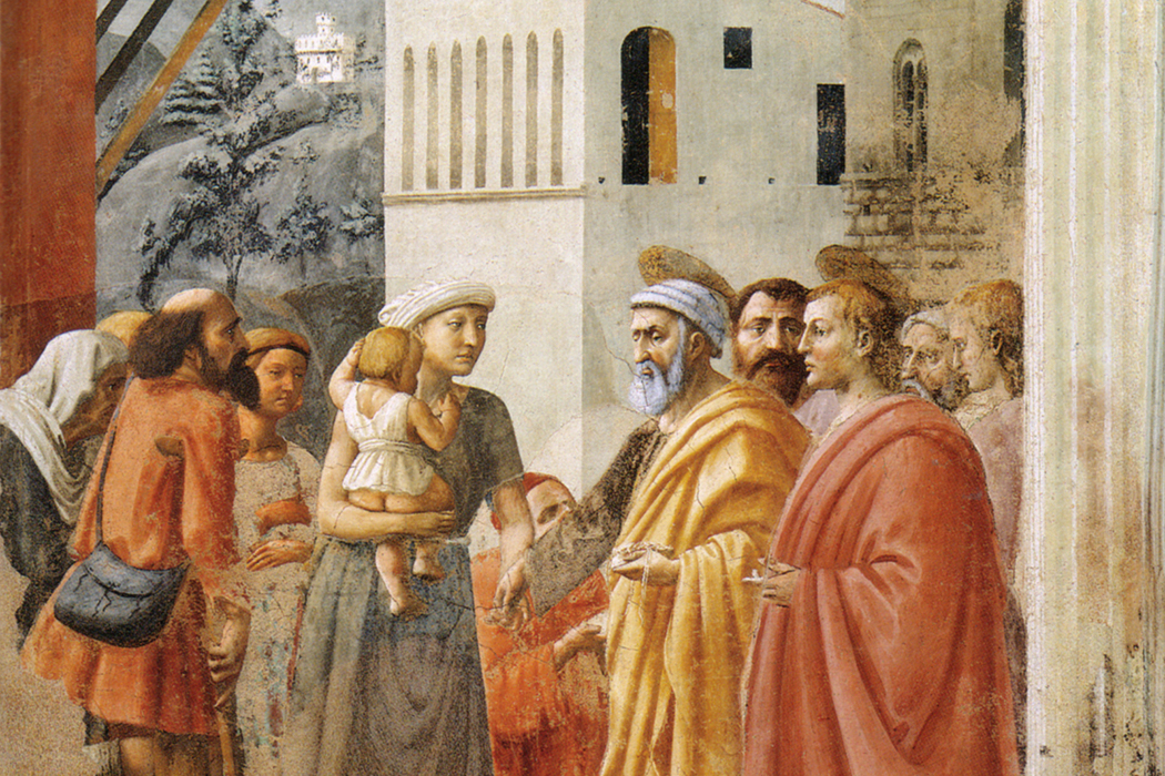 """Distribution of Alms and Death of Ananias"" by Masaccio"