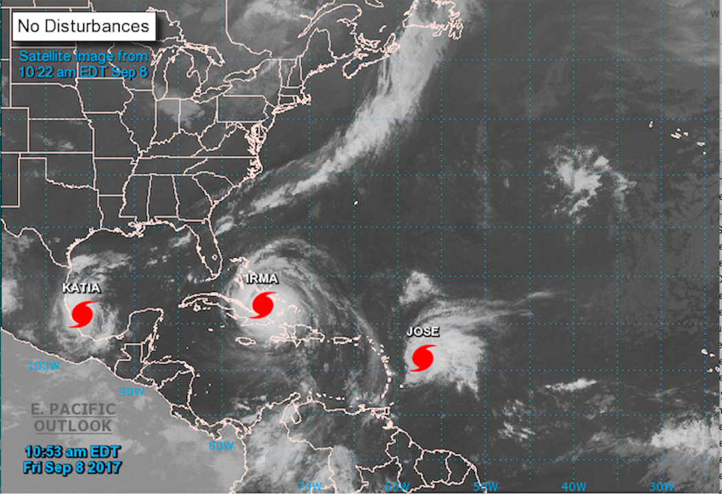 NOAA image of Irma Jose and Katia