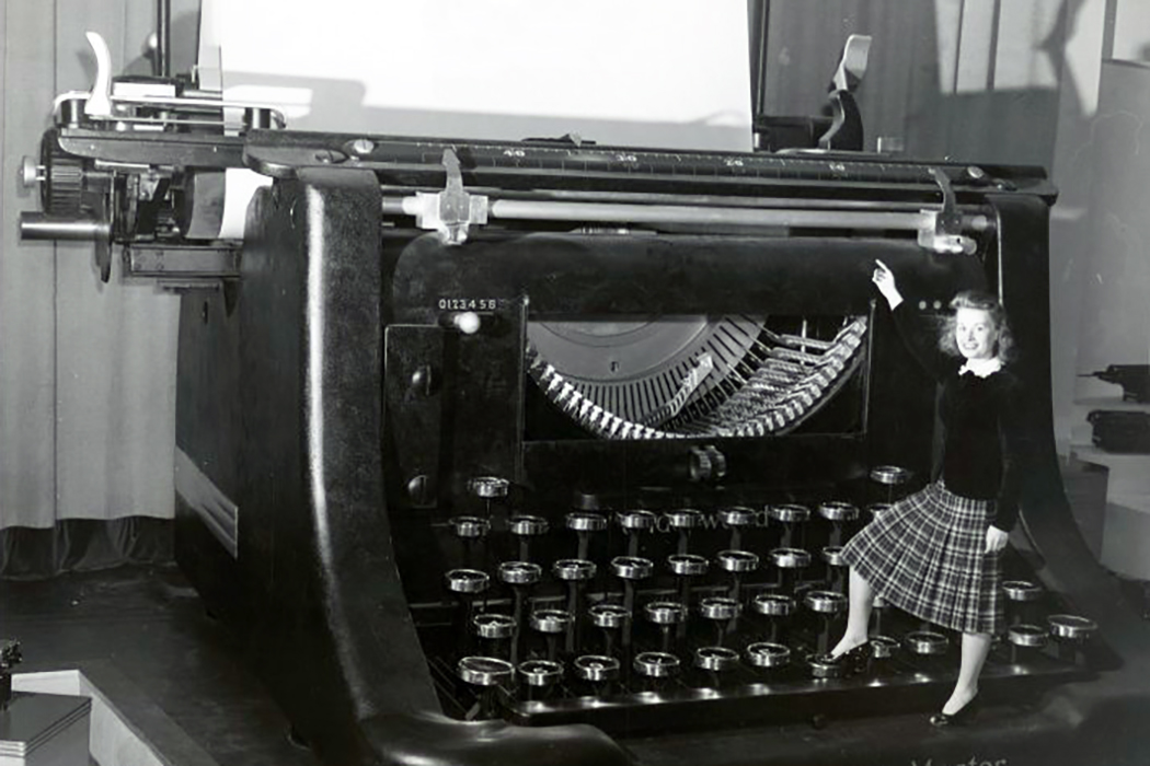 Woman and Giant Typewriter