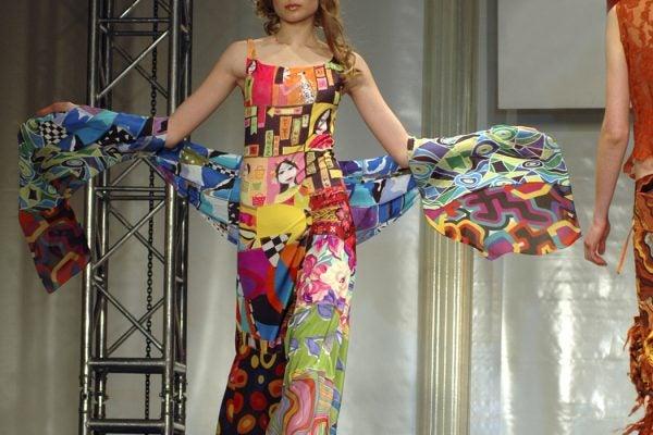 Woman in multicolored dress.