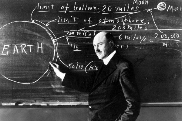 Robert Goddard at chalkboard
