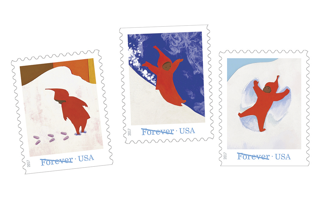"USPS Forever stamps featuring illustrations from Ezra Jack Keats' book ""Snowy Day"""