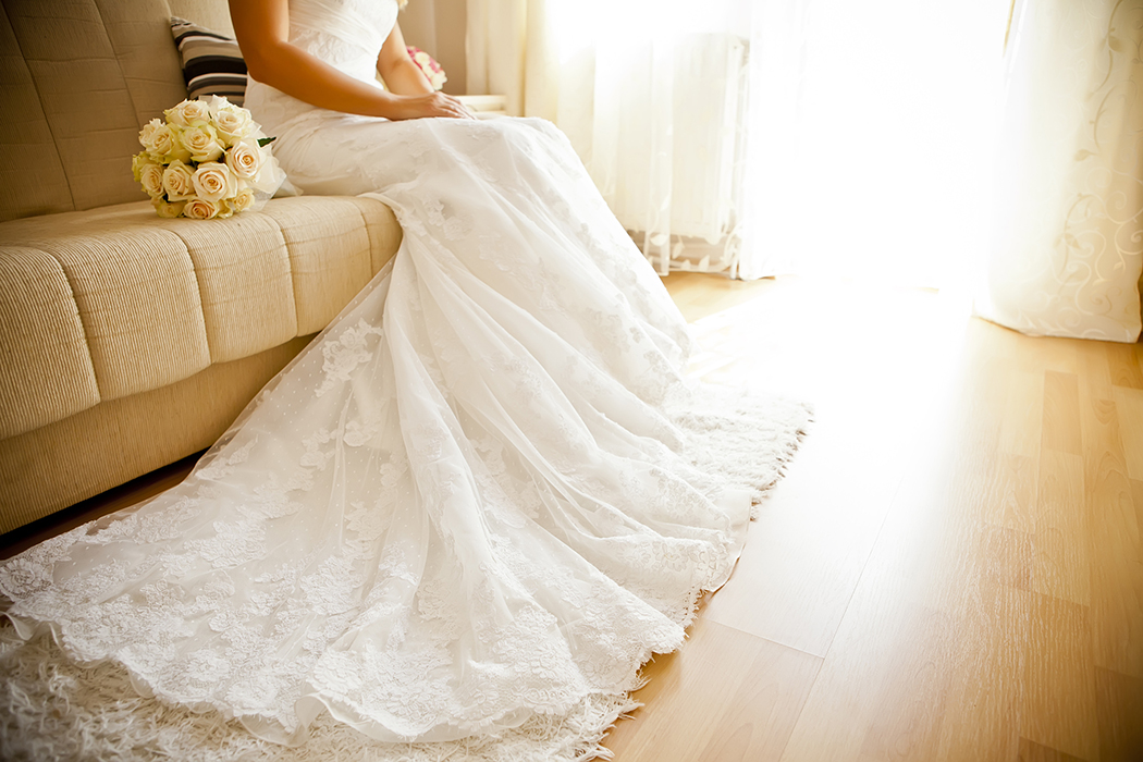Bride alone on couch
