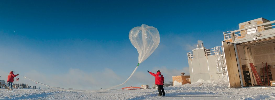 Researchers release a weather balloon