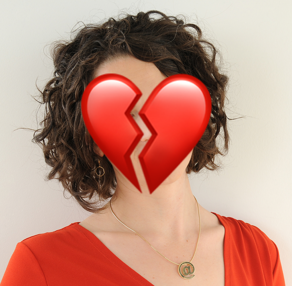 profile photo with broken heart superimposed on face