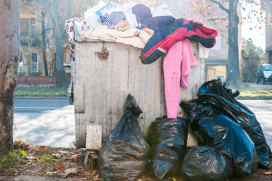 Garbage in the city. Natural light. Novi Sad, Serbia.