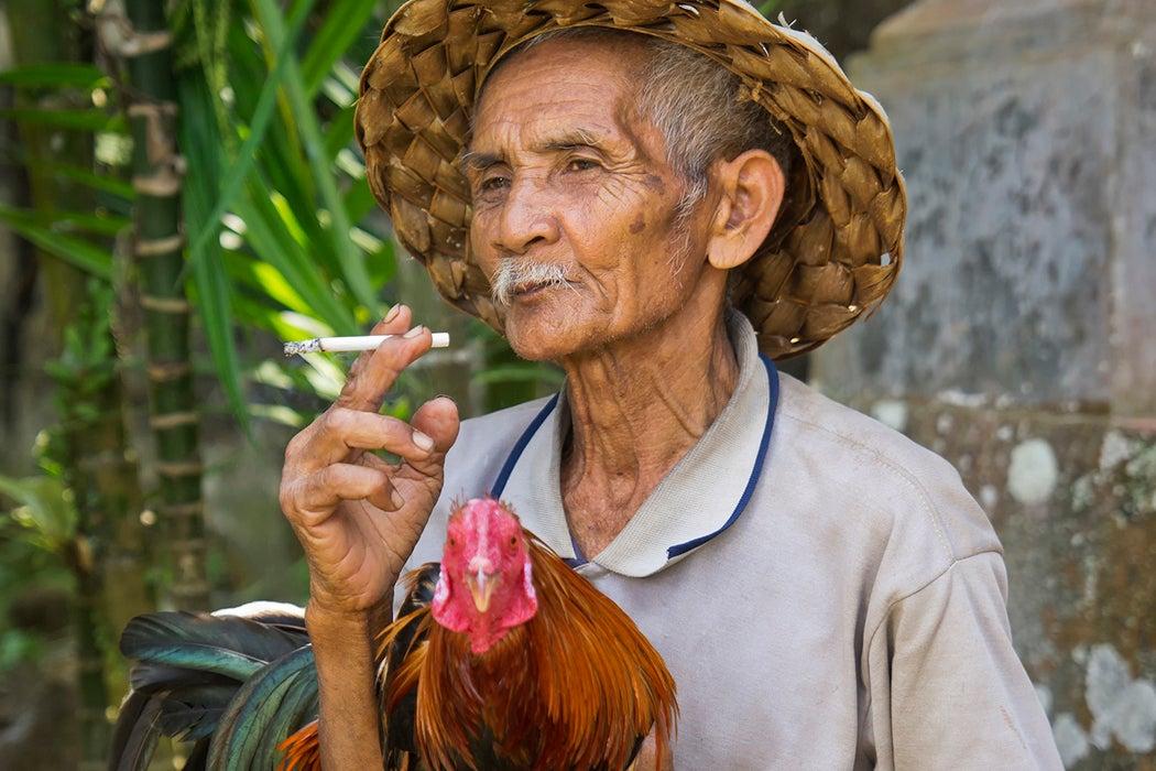 Indonesian man smoking