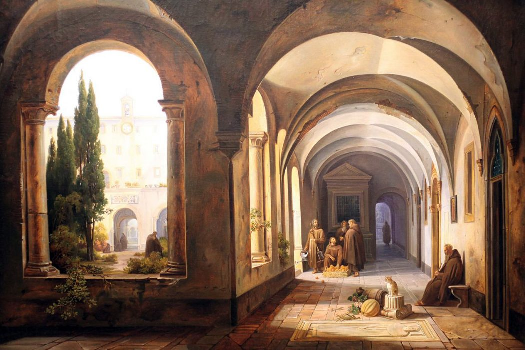 Monks in cloisters