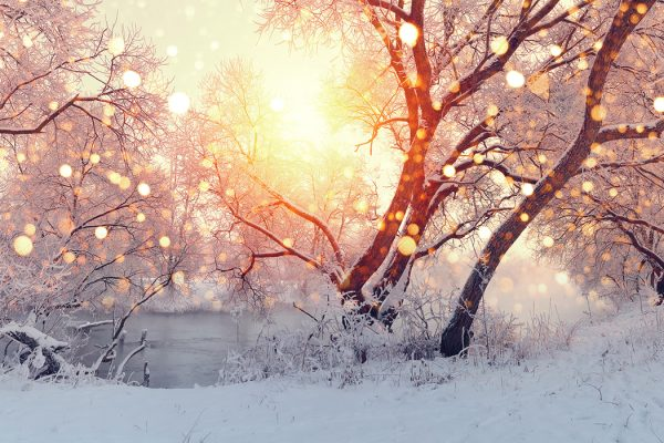 a sunrise over a frozen landscape winter poems
