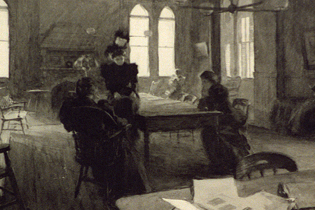 women in a reading room at Smith College in 1898