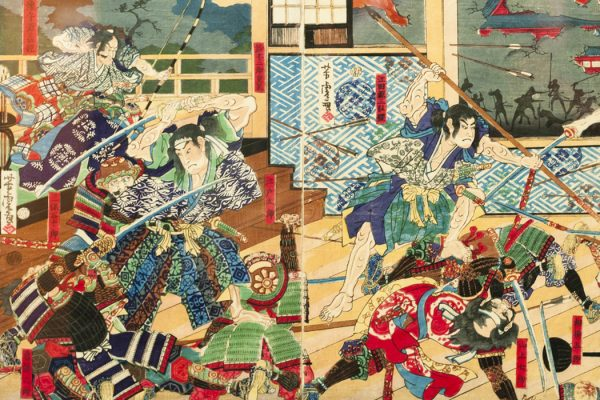 Samurai battle on old vintage Japanese screen