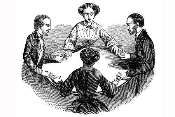 Antique illustration of seance session