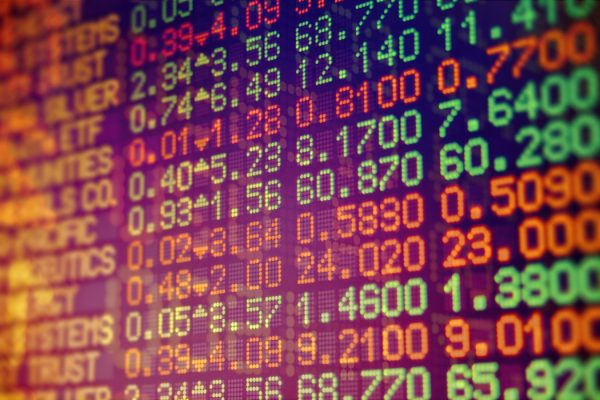 Electronic screen of stock data numbers