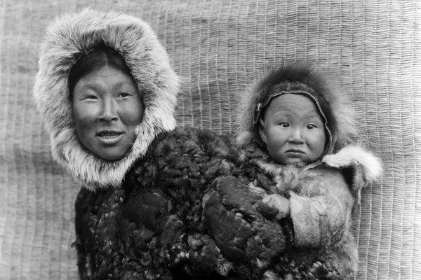 Alaskan woman and child
